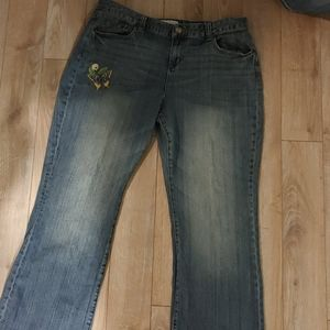 Jeans with butterfly